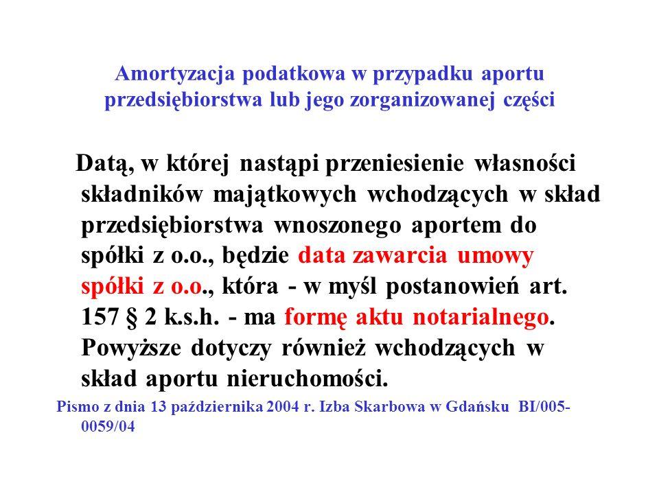 Amortyzacja podatkowa w przypadku aportu przedsiębiorstwa lub jego zorganizowanej części Datą, w której nastąpi przeniesienie własności składników maj