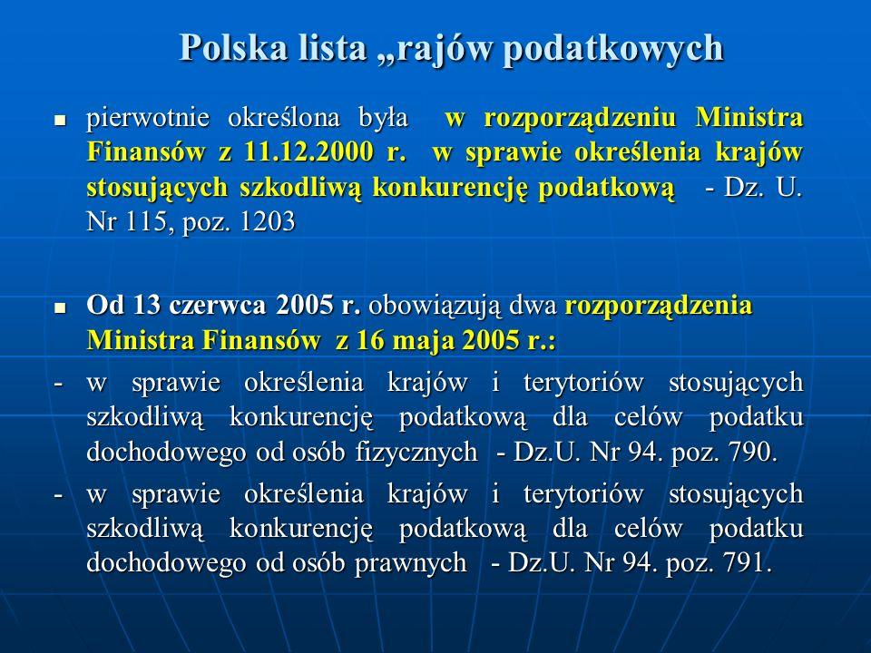 Polska lista rajów podatkowych Polska lista rajów podatkowych pierwotnie określona była w rozporządzeniu Ministra Finansów z 11.12.2000 r. w sprawie o
