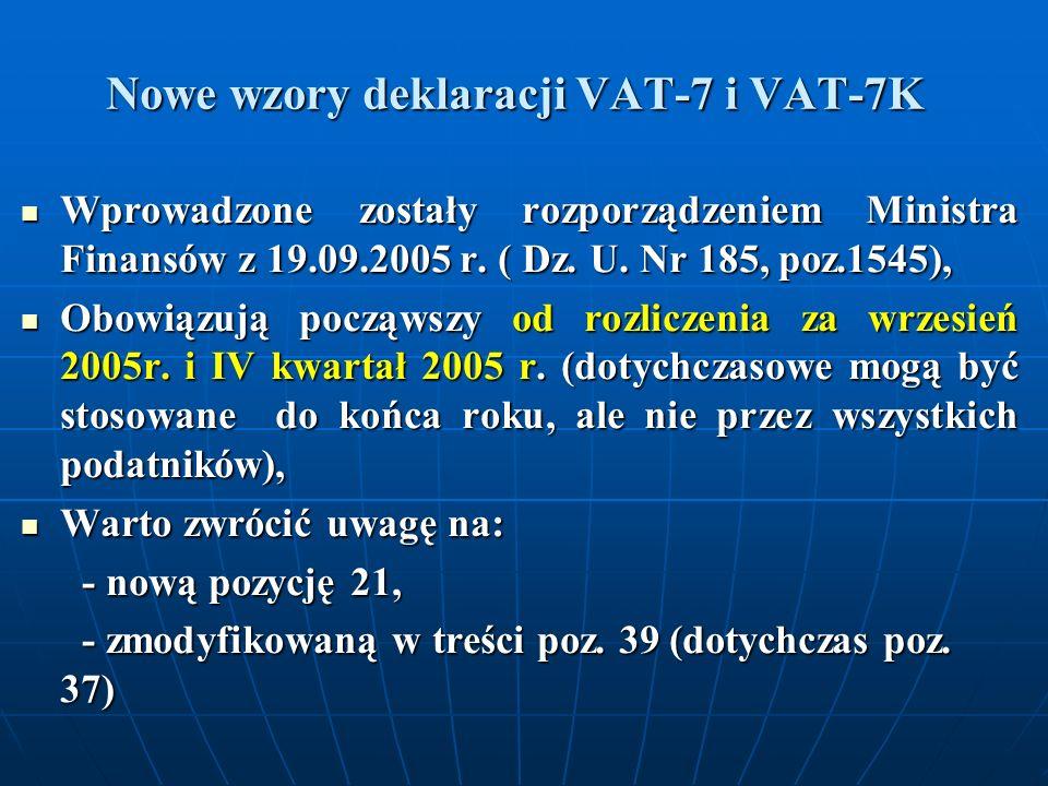 Nowe wzory deklaracji VAT-7 i VAT-7K Wprowadzone zostały rozporządzeniem Ministra Finansów z 19.09.2005 r. ( Dz. U. Nr 185, poz.1545), Wprowadzone zos