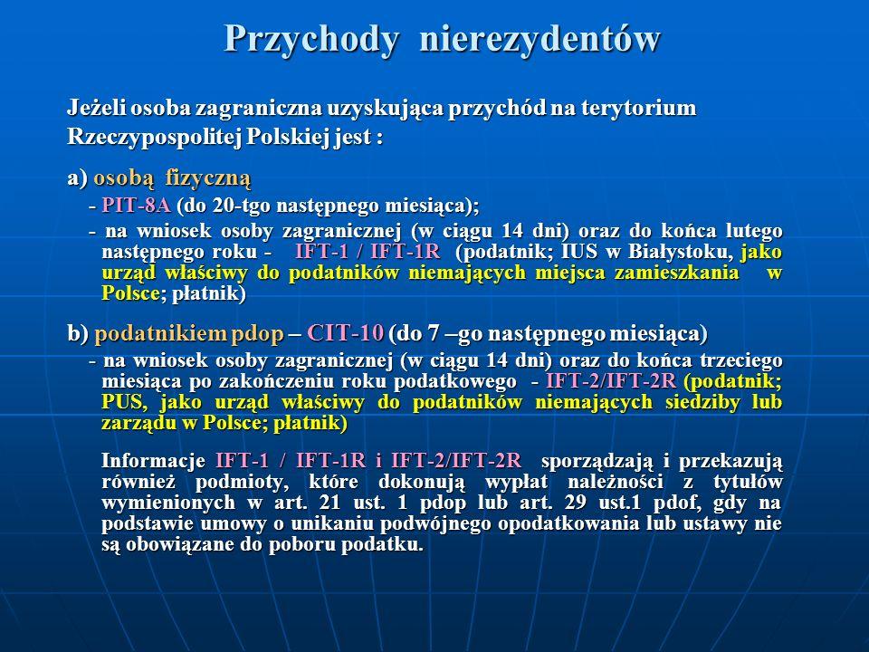 Przychody nierezydentów Jeżeli osoba zagraniczna uzyskująca przychód na terytorium Rzeczypospolitej Polskiej jest : a) osobą fizyczną - PIT-8A (do 20-
