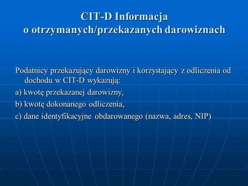 CIT-D Informacja o otrzymanych/przekazanych darowiznach Podatnicy przekazujący darowizny i korzystający z odliczenia od dochodu w CIT-D wykazują: a) kwotę przekazanej darowizny, b) kwotę dokonanego odliczenia, c) dane identyfikacyjne obdarowanego (nazwa, adres, NIP)