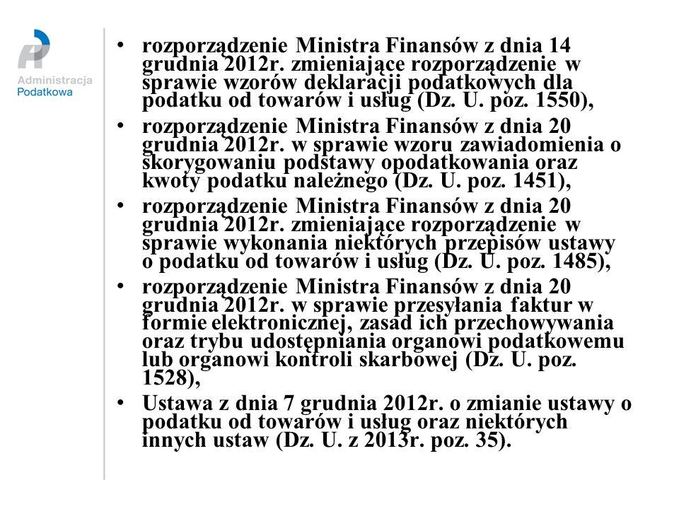 rozporządzenie Ministra Finansów z dnia 14 grudnia 2012r. zmieniające rozporządzenie w sprawie wzorów deklaracji podatkowych dla podatku od towarów i