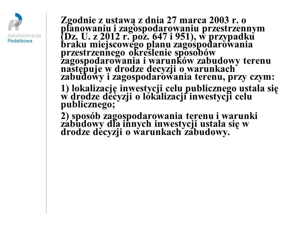 Zgodnie z ustawą z dnia 27 marca 2003 r. o planowaniu i zagospodarowaniu przestrzennym (Dz. U. z 2012 r. poz. 647 i 951), w przypadku braku miejscoweg