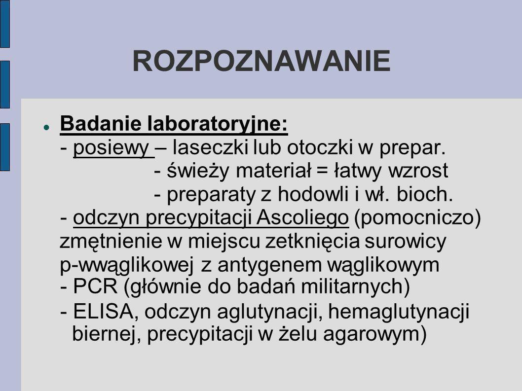 ROZPOZNAWANIE Badanie laboratoryjne: - posiewy – laseczki lub otoczki w prepar.