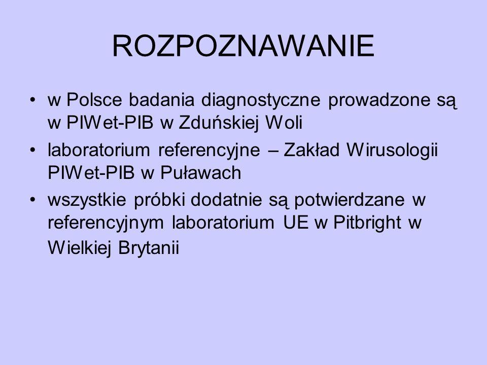 ROZPOZNAWANIE w Polsce badania diagnostyczne prowadzone są w PIWet-PIB w Zduńskiej Woli laboratorium referencyjne – Zakład Wirusologii PIWet-PIB w Puł
