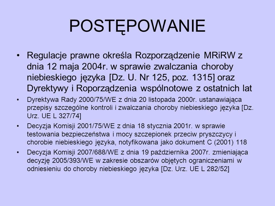 POSTĘPOWANIE Regulacje prawne określa Rozporządzenie MRiRW z dnia 12 maja 2004r. w sprawie zwalczania choroby niebieskiego języka [Dz. U. Nr 125, poz.
