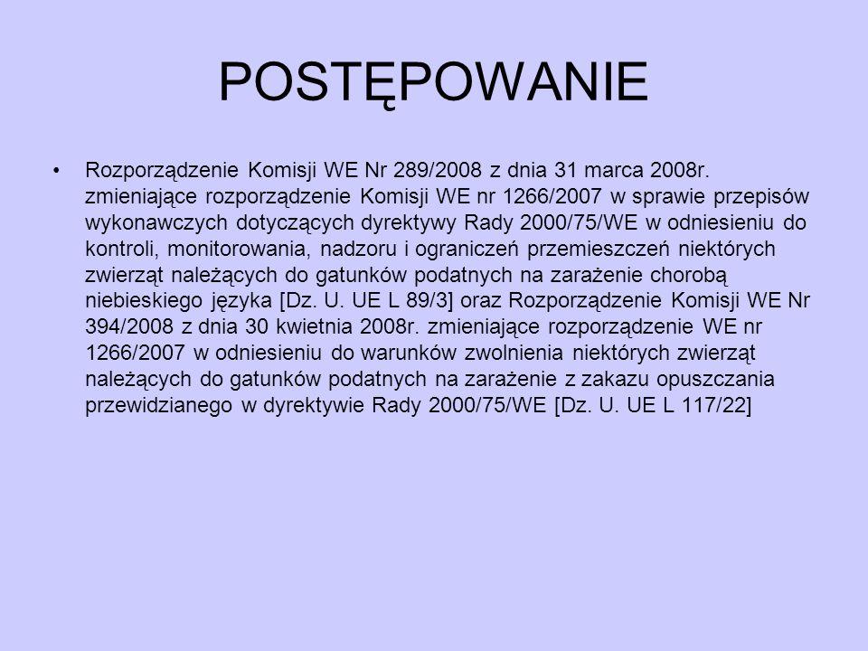 POSTĘPOWANIE Rozporządzenie Komisji WE Nr 289/2008 z dnia 31 marca 2008r. zmieniające rozporządzenie Komisji WE nr 1266/2007 w sprawie przepisów wykon