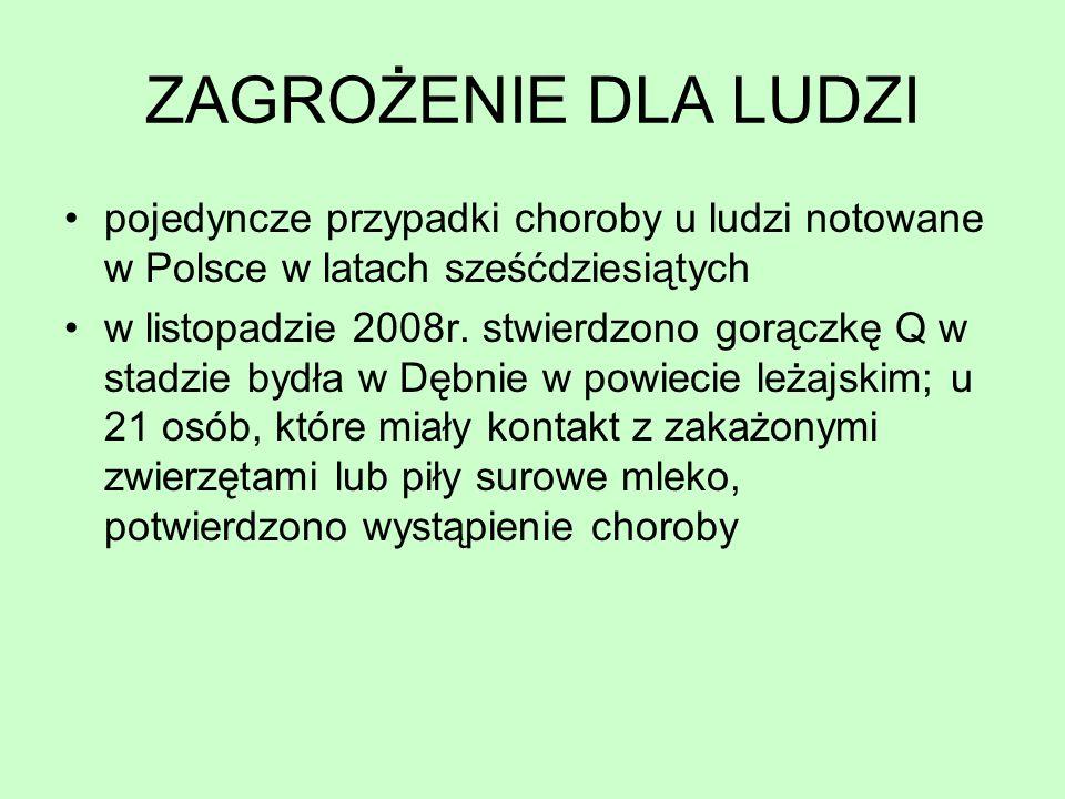 pojedyncze przypadki choroby u ludzi notowane w Polsce w latach sześćdziesiątych w listopadzie 2008r. stwierdzono gorączkę Q w stadzie bydła w Dębnie