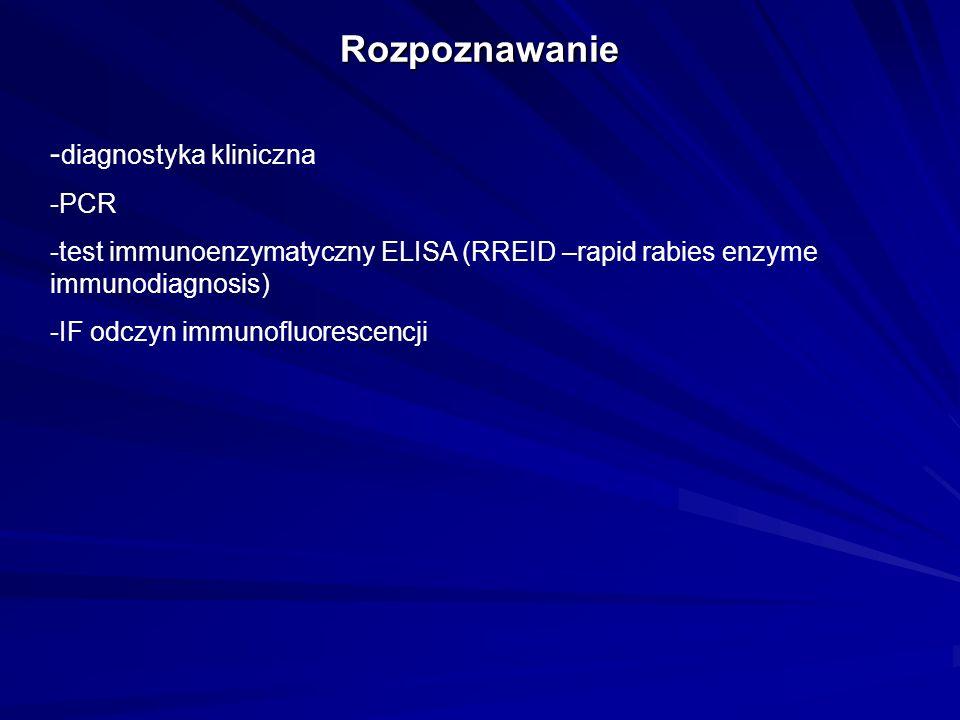 Rozpoznawanie - diagnostyka kliniczna -PCR -test immunoenzymatyczny ELISA (RREID –rapid rabies enzyme immunodiagnosis) -IF odczyn immunofluorescencji