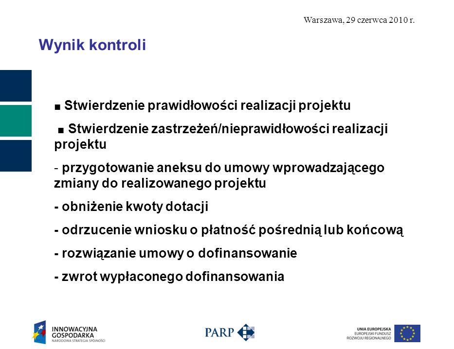 Warszawa, 29 czerwca 2010 r. Wynik kontroli Stwierdzenie prawidłowości realizacji projektu Stwierdzenie zastrzeżeń/nieprawidłowości realizacji projekt