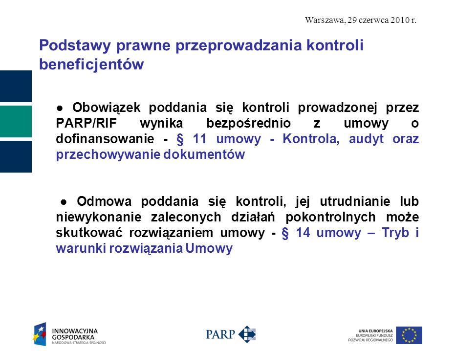Podstawy prawne przeprowadzania kontroli beneficjentów Obowiązek poddania się kontroli prowadzonej przez PARP/RIF wynika bezpośrednio z umowy o dofina