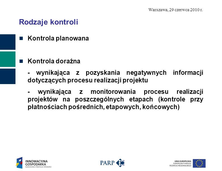 Warszawa, 29 czerwca 2010 r. Rodzaje kontroli Kontrola planowana Kontrola doraźna - wynikająca z pozyskania negatywnych informacji dotyczących procesu