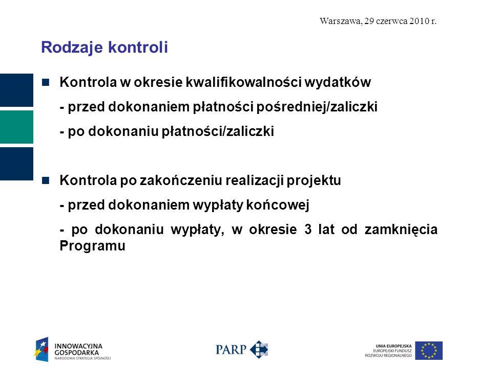 Warszawa, 29 czerwca 2010 r. Rodzaje kontroli Kontrola w okresie kwalifikowalności wydatków - przed dokonaniem płatności pośredniej/zaliczki - po doko