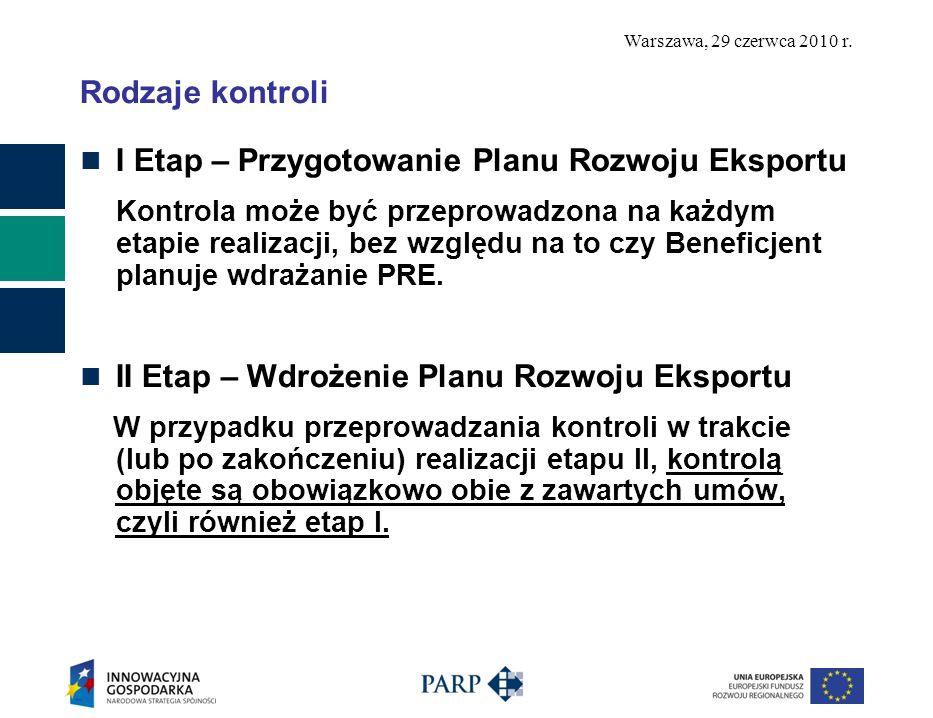 Warszawa, 29 czerwca 2010 r. Rodzaje kontroli I Etap – Przygotowanie Planu Rozwoju Eksportu Kontrola może być przeprowadzona na każdym etapie realizac
