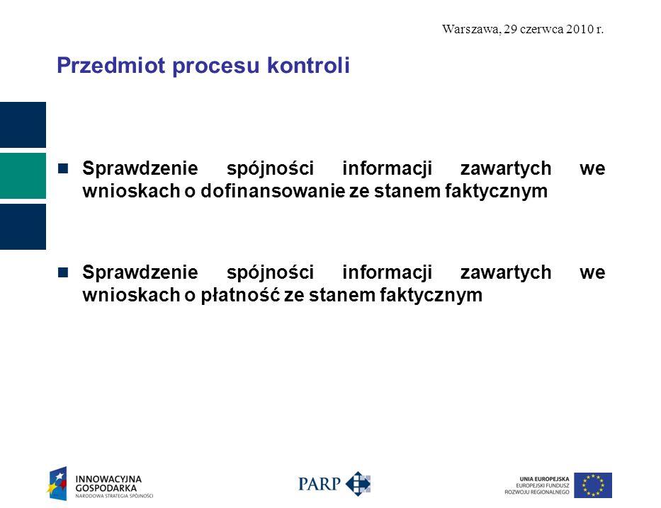 Warszawa, 29 czerwca 2010 r. Przedmiot procesu kontroli Sprawdzenie spójności informacji zawartych we wnioskach o dofinansowanie ze stanem faktycznym