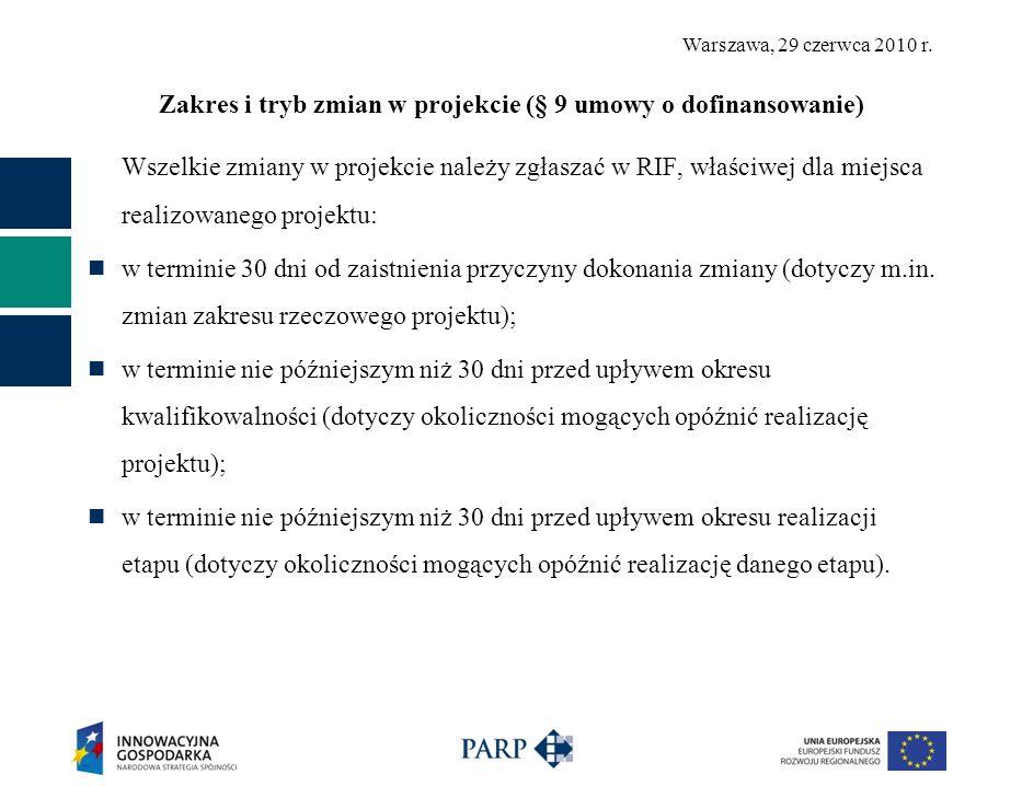 Warszawa, 29 czerwca 2010 r. Zakres i tryb zmian w projekcie (§ 9 umowy o dofinansowanie) Wszelkie zmiany w projekcie należy zgłaszać w RIF, właściwej