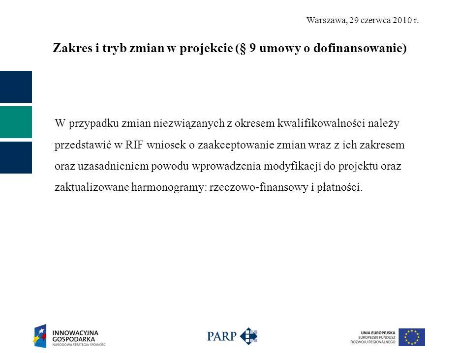 Warszawa, 29 czerwca 2010 r. Zakres i tryb zmian w projekcie (§ 9 umowy o dofinansowanie) W przypadku zmian niezwiązanych z okresem kwalifikowalności