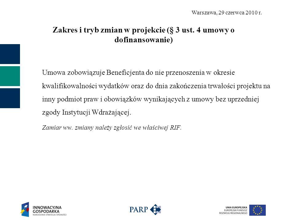 Warszawa, 29 czerwca 2010 r. Zakres i tryb zmian w projekcie (§ 3 ust. 4 umowy o dofinansowanie) Umowa zobowiązuje Beneficjenta do nie przenoszenia w