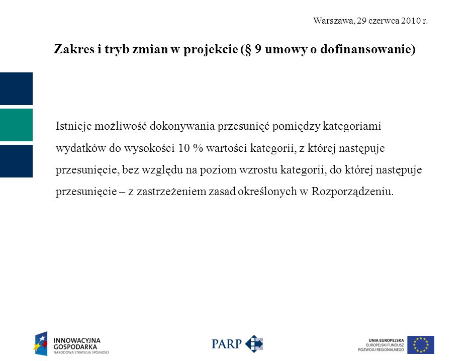 Warszawa, 29 czerwca 2010 r. Zakres i tryb zmian w projekcie (§ 9 umowy o dofinansowanie) Istnieje możliwość dokonywania przesunięć pomiędzy kategoria