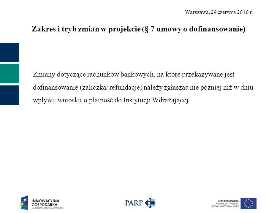 Warszawa, 29 czerwca 2010 r. Zakres i tryb zmian w projekcie (§ 7 umowy o dofinansowanie) Zmiany dotyczące rachunków bankowych, na które przekazywane