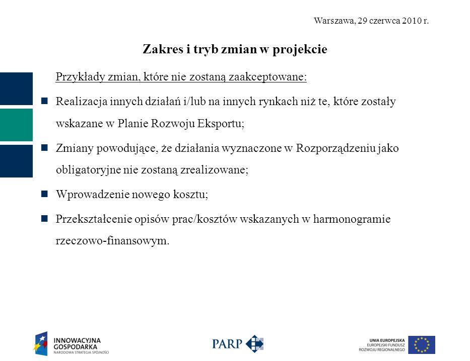 Warszawa, 29 czerwca 2010 r. Zakres i tryb zmian w projekcie Przykłady zmian, które nie zostaną zaakceptowane: Realizacja innych działań i/lub na inny