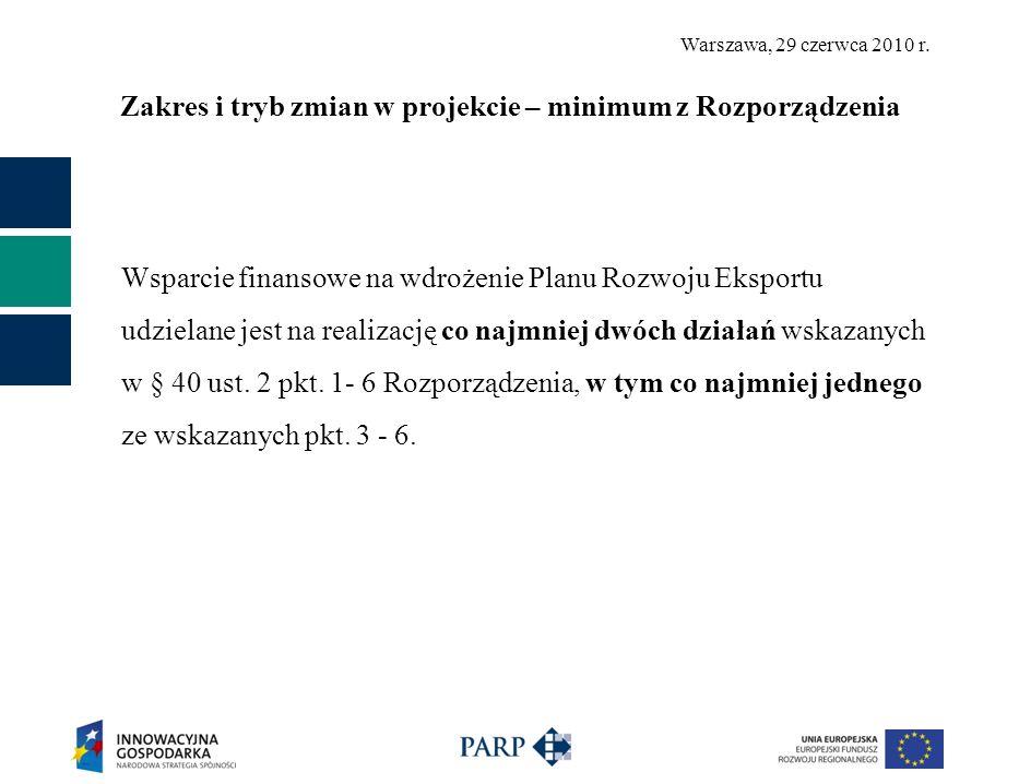 Warszawa, 29 czerwca 2010 r. Zakres i tryb zmian w projekcie – minimum z Rozporządzenia Wsparcie finansowe na wdrożenie Planu Rozwoju Eksportu udziela
