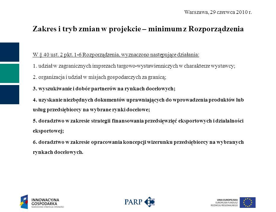 Warszawa, 29 czerwca 2010 r. Zakres i tryb zmian w projekcie – minimum z Rozporządzenia W § 40 ust. 2 pkt. 1-6 Rozporządzenia, wyznaczono następujące