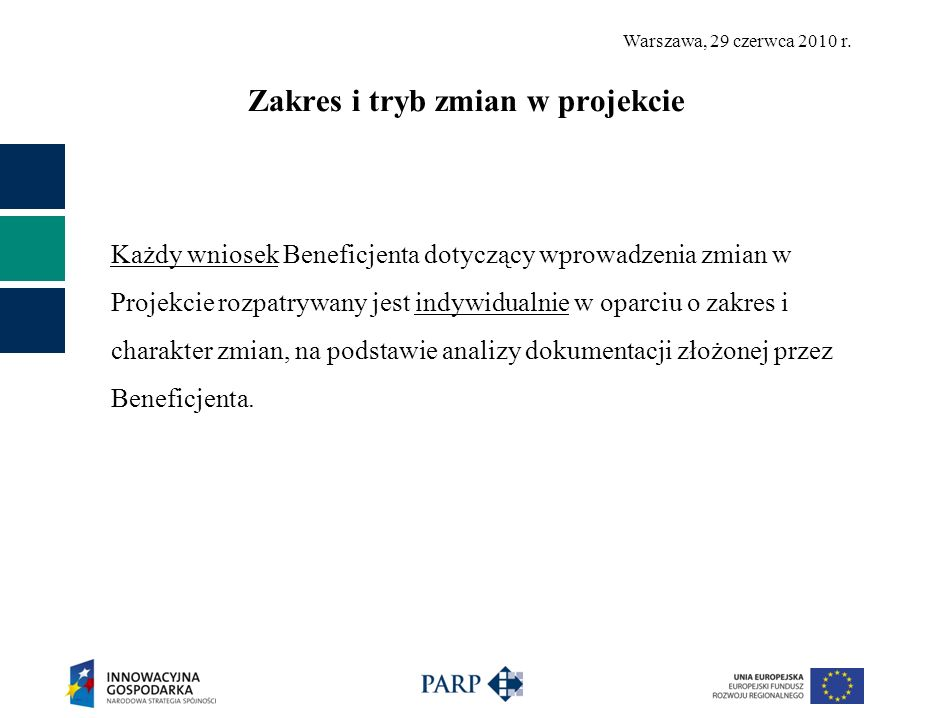 Warszawa, 29 czerwca 2010 r. Zakres i tryb zmian w projekcie Każdy wniosek Beneficjenta dotyczący wprowadzenia zmian w Projekcie rozpatrywany jest ind