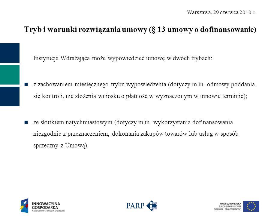 Warszawa, 29 czerwca 2010 r. Tryb i warunki rozwiązania umowy (§ 13 umowy o dofinansowanie) Instytucja Wdrażająca może wypowiedzieć umowę w dwóch tryb