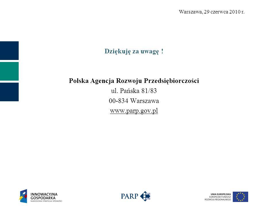 Warszawa, 29 czerwca 2010 r. Dziękuję za uwagę ! Polska Agencja Rozwoju Przedsiębiorczości ul. Pańska 81/83 00-834 Warszawa www.parp.gov.pl