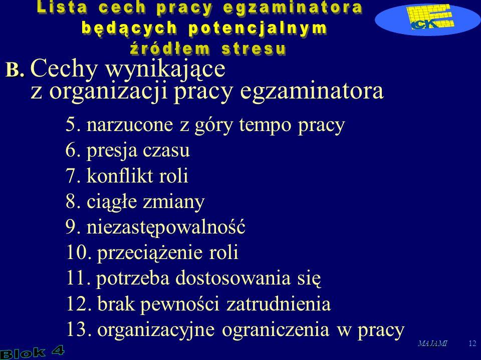 MAJAMI12 B. B. Cechy wynikające z organizacji pracy egzaminatora 5.