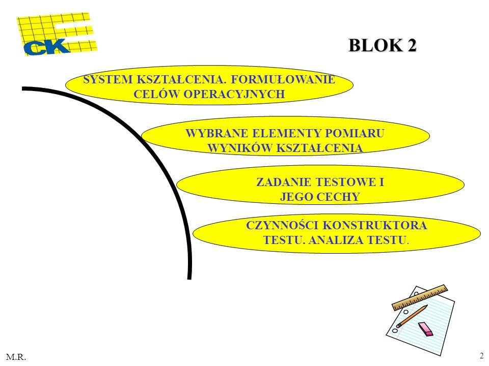 M.R. 2 SYSTEM KSZTAŁCENIA. FORMUŁOWANIE CELÓW OPERACYJNYCH WYBRANE ELEMENTY POMIARU WYNIKÓW KSZTAŁCENIA ZADANIE TESTOWE I JEGO CECHY CZYNNOŚCI KONSTRU
