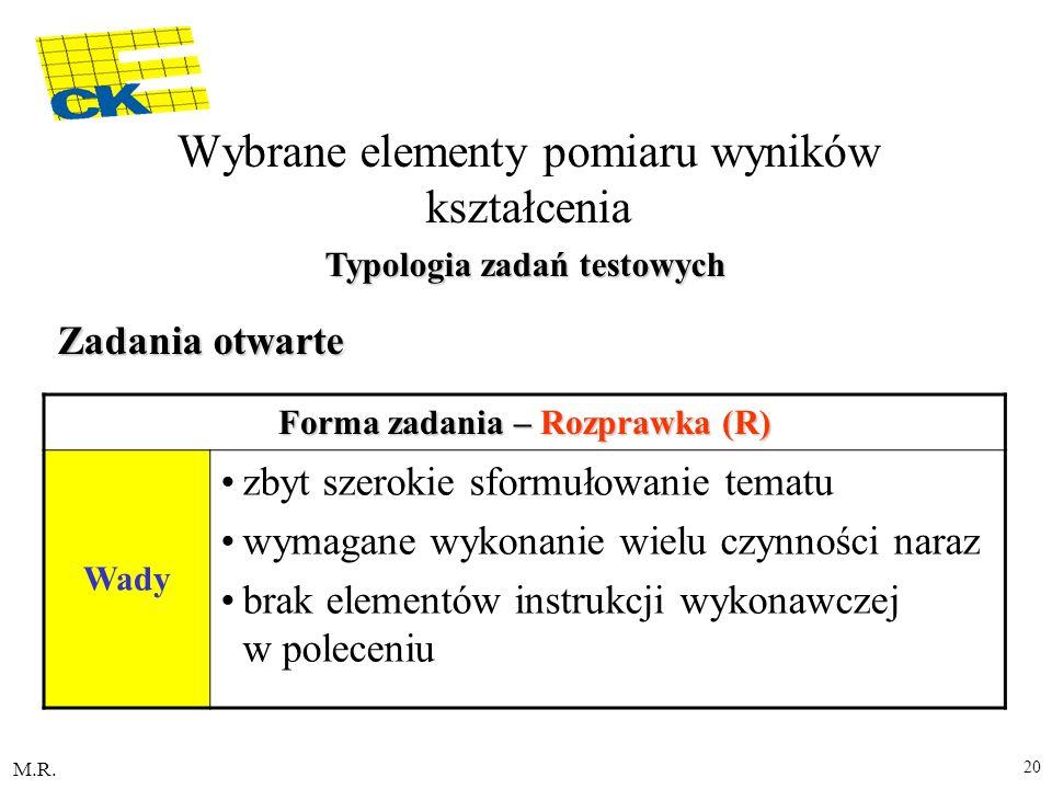 M.R. 20 Forma zadania – Rozprawka (R) Wady zbyt szerokie sformułowanie tematu wymagane wykonanie wielu czynności naraz brak elementów instrukcji wykon