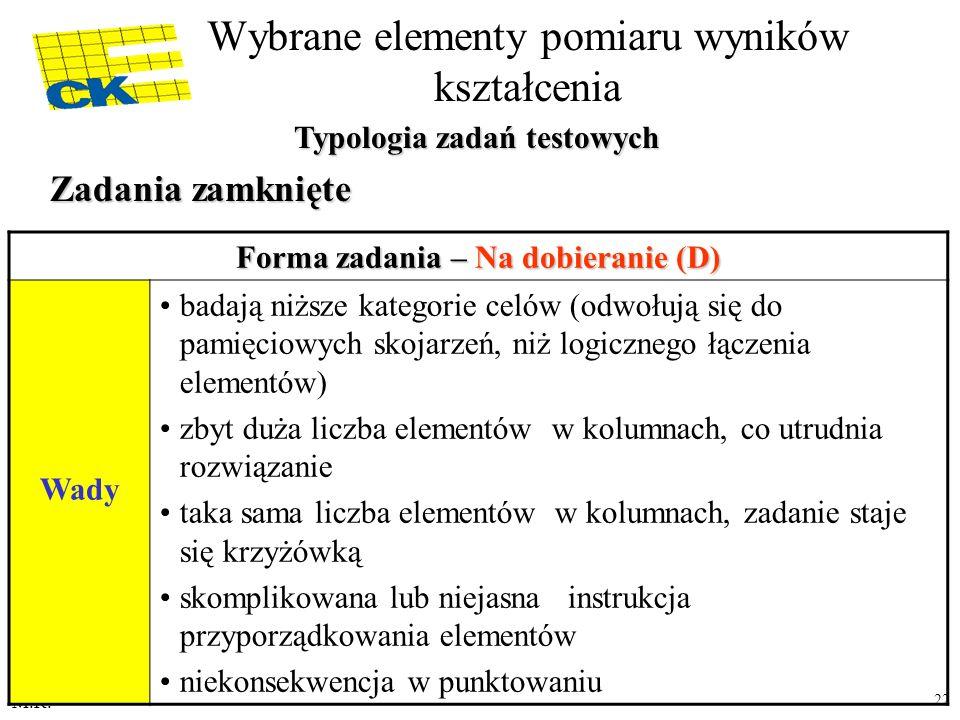 M.R. 22 Forma zadania – Na dobieranie (D) Wady badają niższe kategorie celów (odwołują się do pamięciowych skojarzeń, niż logicznego łączenia elementó