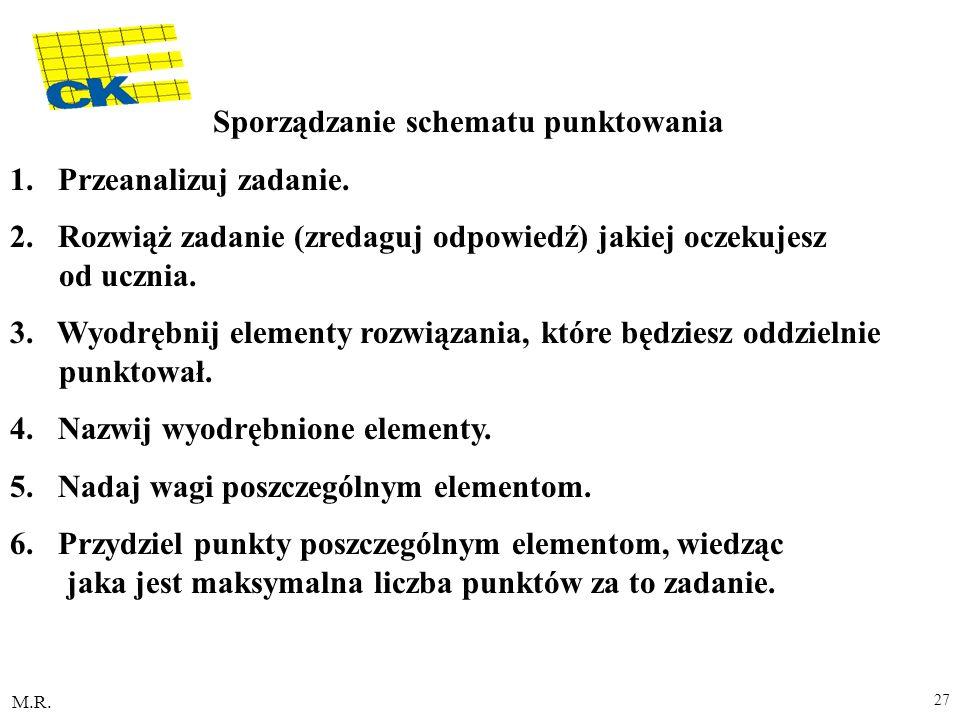 M.R. 27 Sporządzanie schematu punktowania 1. Przeanalizuj zadanie. 2. Rozwiąż zadanie (zredaguj odpowiedź) jakiej oczekujesz od ucznia. 3. Wyodrębnij