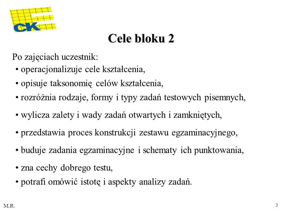 M.R. 3 Cele bloku 2 Po zajęciach uczestnik: operacjonalizuje cele kształcenia, opisuje taksonomię celów kształcenia, rozróżnia rodzaje, formy i typy z