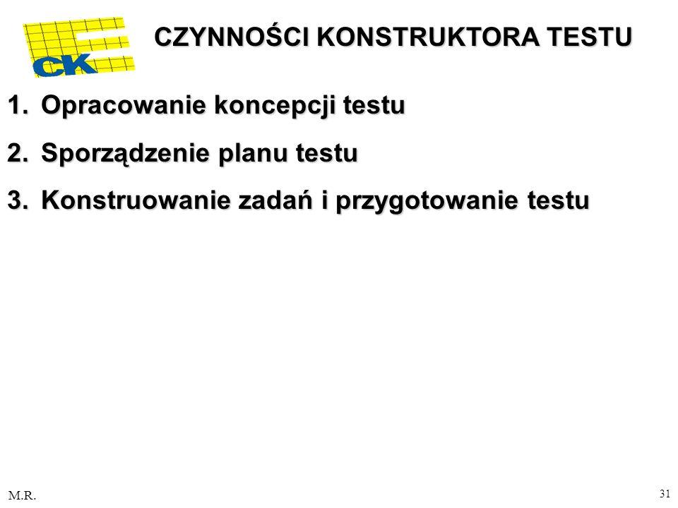 M.R. 31 CZYNNOŚCI KONSTRUKTORA TESTU 1.Opracowanie koncepcji testu 2.Sporządzenie planu testu 3.Konstruowanie zadań i przygotowanie testu