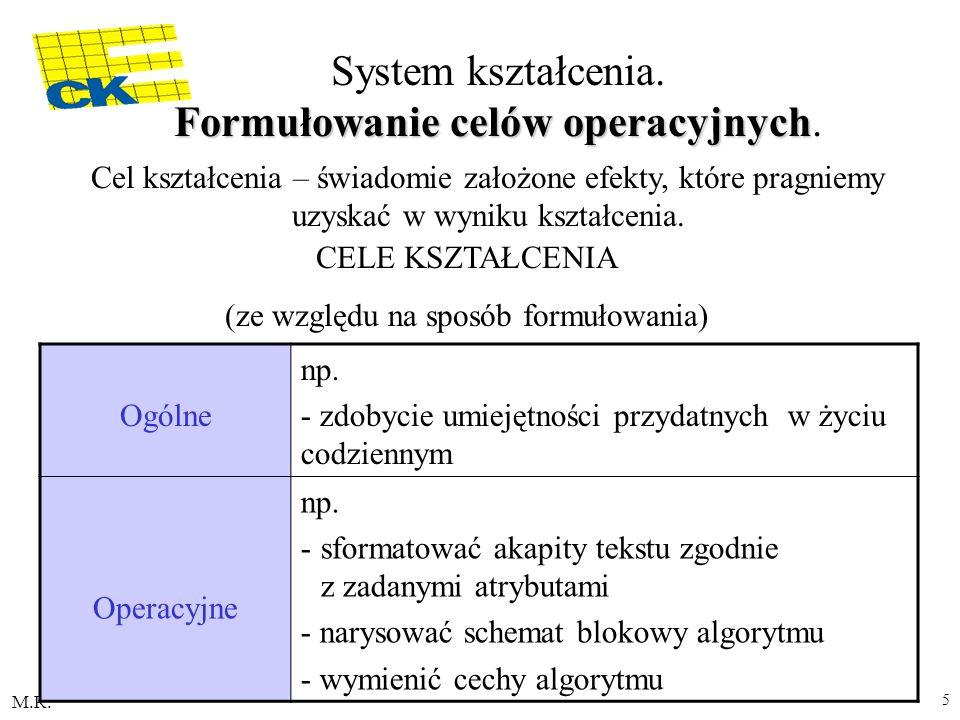 M.R. 5 Formułowanie celów operacyjnych System kształcenia. Formułowanie celów operacyjnych. Cel kształcenia – świadomie założone efekty, które pragnie