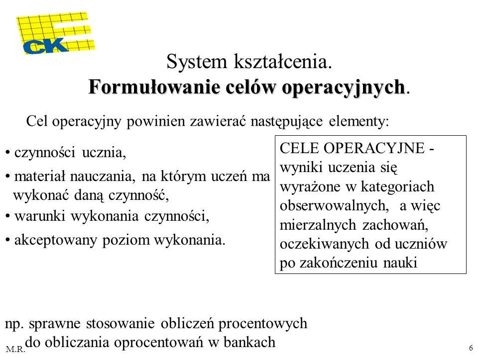 M.R. 6 Formułowanie celów operacyjnych System kształcenia. Formułowanie celów operacyjnych. Cel operacyjny powinien zawierać następujące elementy: czy