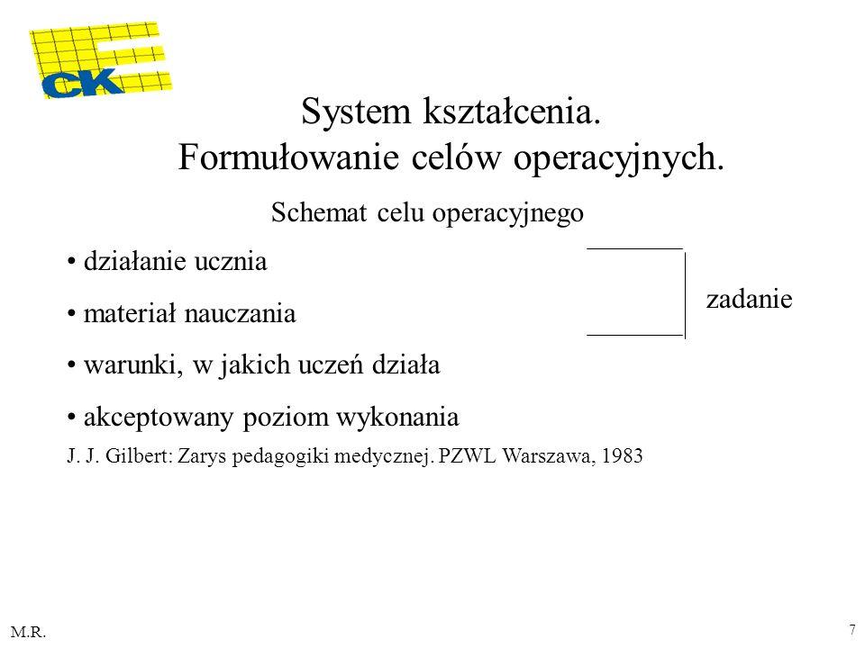 M.R. 7 System kształcenia. Formułowanie celów operacyjnych. Schemat celu operacyjnego działanie ucznia materiał nauczania warunki, w jakich uczeń dzia