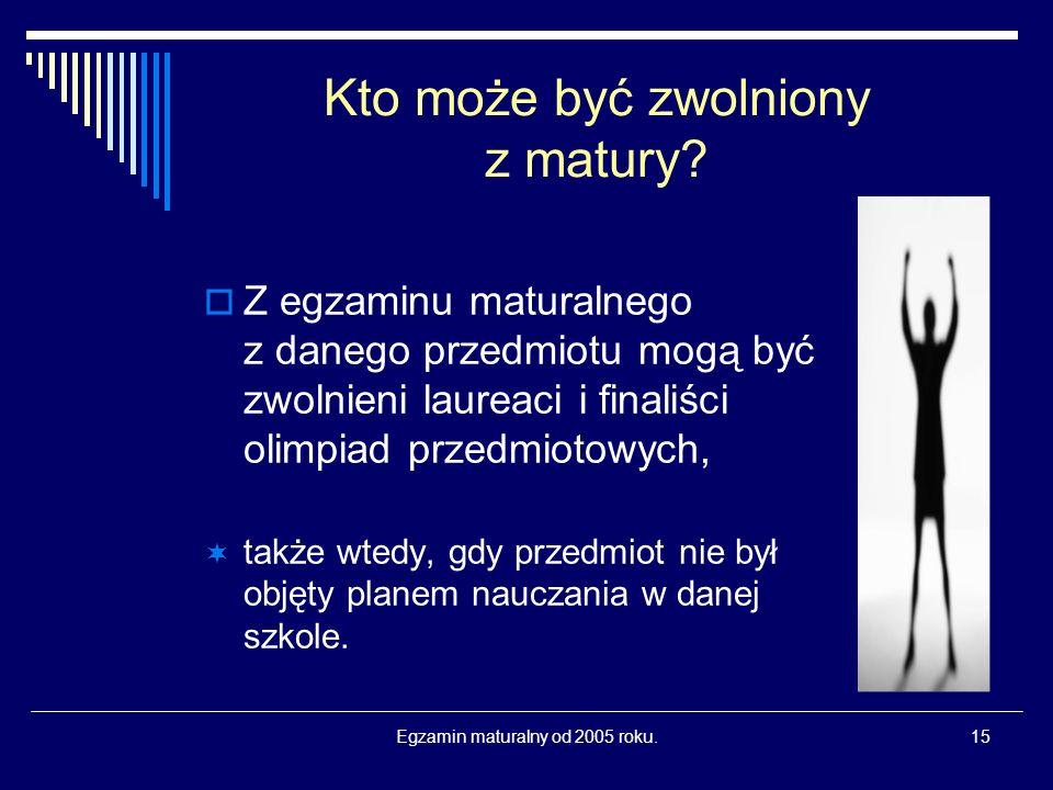 Egzamin maturalny od 2005 roku.15 Kto może być zwolniony z matury.