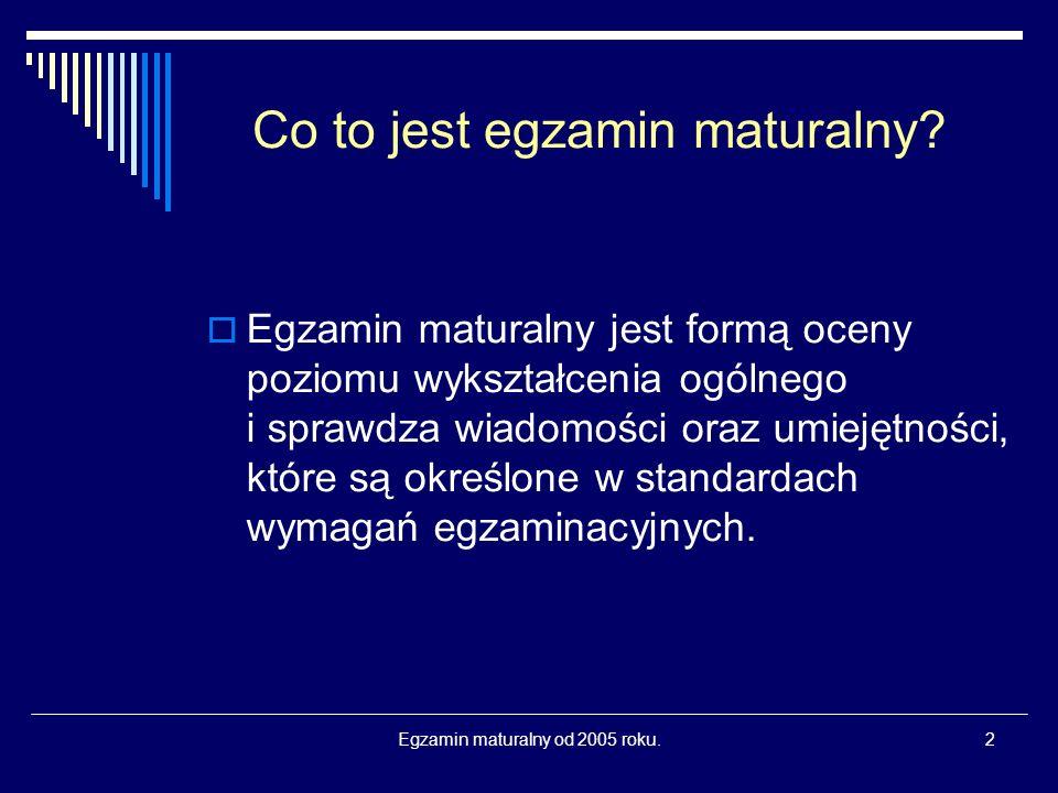 Egzamin maturalny od 2005 roku.2 Co to jest egzamin maturalny.