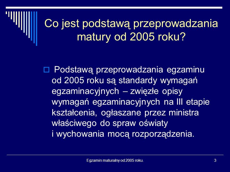 Egzamin maturalny od 2005 roku.14 Czy można egzaminu maturalnego nie zdać lub do niego nie przystąpić.