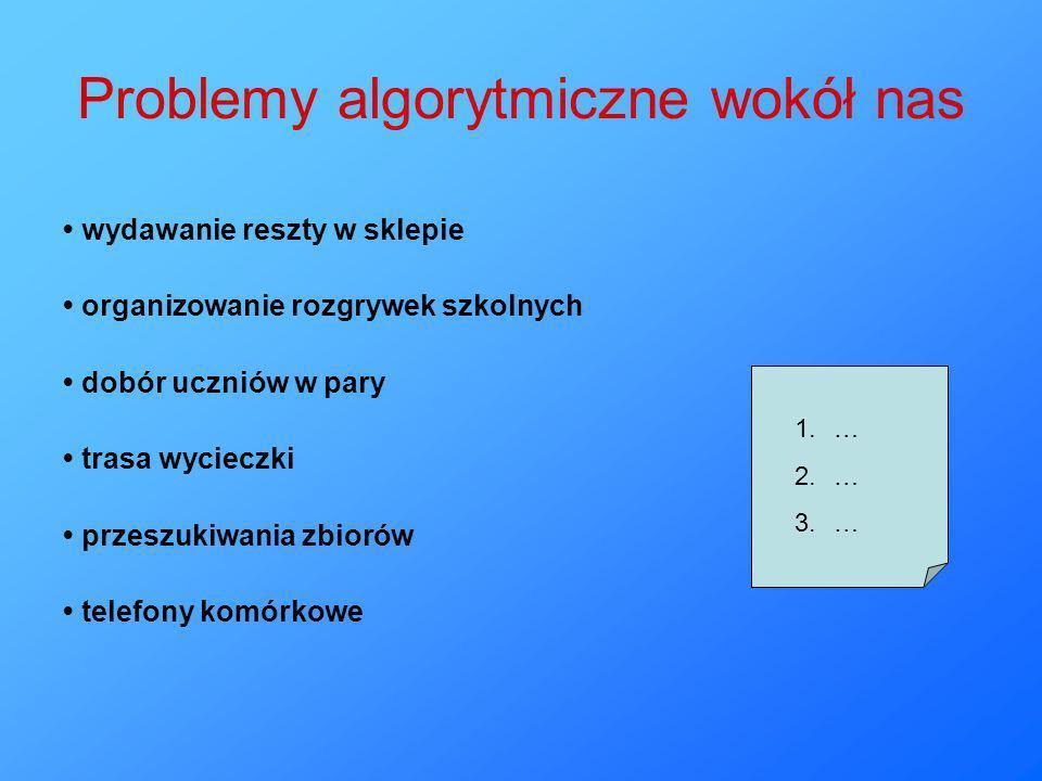 Cechy algorytmu skończoność - realizowany ciąg operacji powinien mieć swój koniec określoność - zarówno operacje, jak i porządek ich wykonywania powinny być ściśle określone, nie zostawiając miejsca na dowolną interpretację użytkownika ogólność - algorytm nie ogranicza się do jednego, pojedynczego, szczegółowego przypadku, ale odnosi się do pewnej klasy zadań efektywność - algorytm powinien prowadzić do rozwiązania możliwie najprostszą drogą