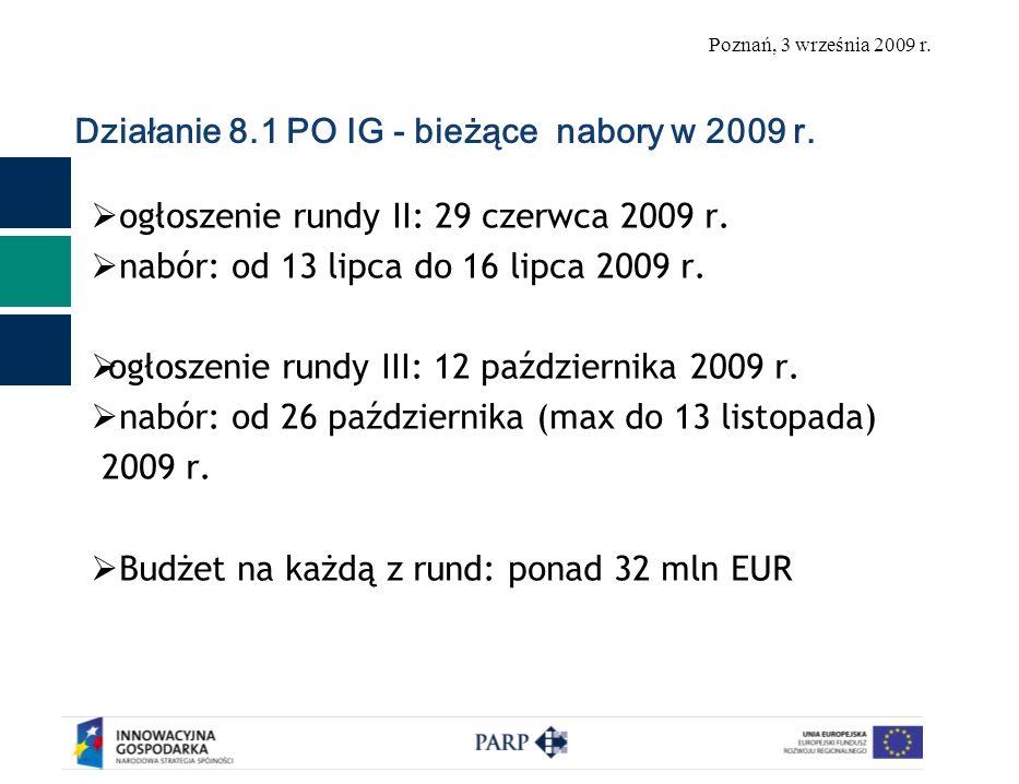 Poznań, 3 września 2009 r. Działanie 8.1 PO IG - bieżące nabory w 2009 r.