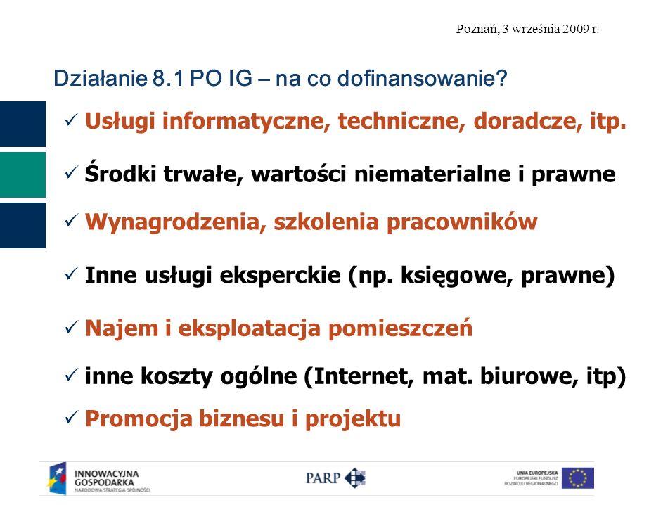 Poznań, 3 września 2009 r. Działanie 8.1 PO IG – na co dofinansowanie.