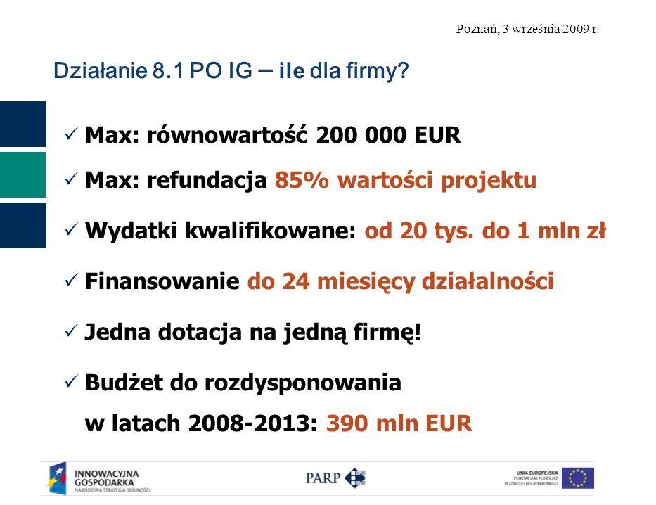 Poznań, 3 września 2009 r. Działanie 8.1 PO IG – ile dla firmy.