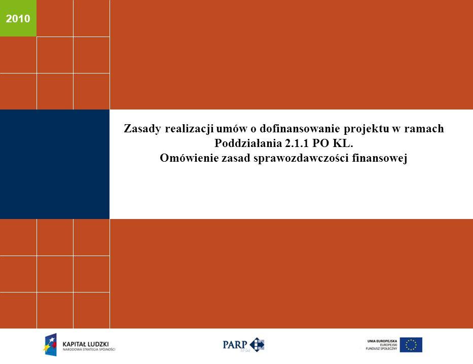 2010 Zasady realizacji umów o dofinansowanie projektu w ramach Poddziałania 2.1.1 PO KL.