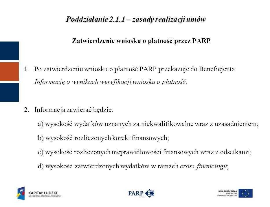 Zatwierdzenie wniosku o płatność przez PARP 1.Po zatwierdzeniu wniosku o płatność PARP przekazuje do Beneficjenta Informację o wynikach weryfikacji wniosku o płatność.