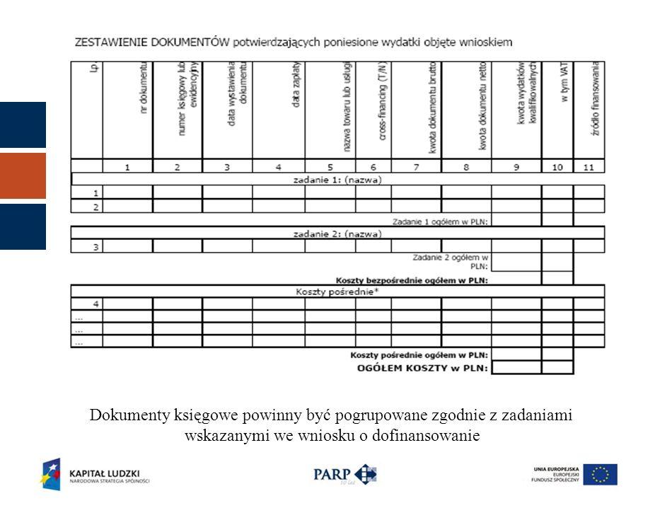 Dokumenty księgowe powinny być pogrupowane zgodnie z zadaniami wskazanymi we wniosku o dofinansowanie